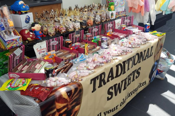 Traditional sweets stall at a Mansion House craft and gifts fayre