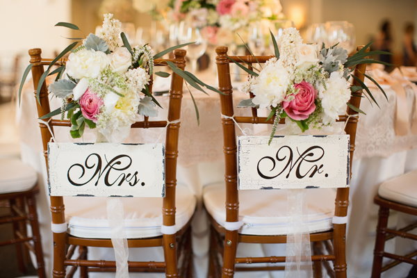 Mr and Mrs decorated chairs